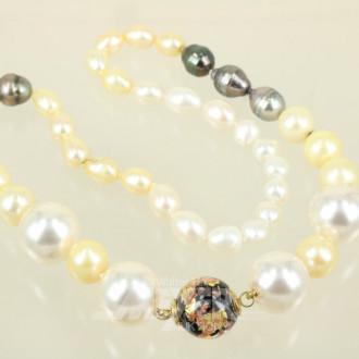 Süßwasser-Perlenkette, versch. Perlen