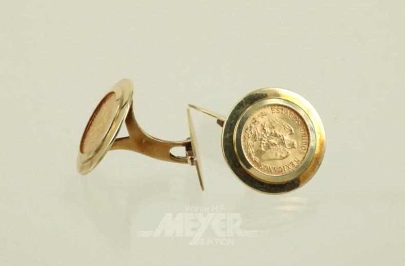 Paar Münz-Manschettenknöpfe ''Dos Pesos,