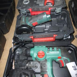 3 Akku-Geräte; kleiner Bohrhammer, kleine