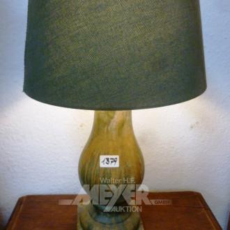 schwere Tischlampe, Steingut grün