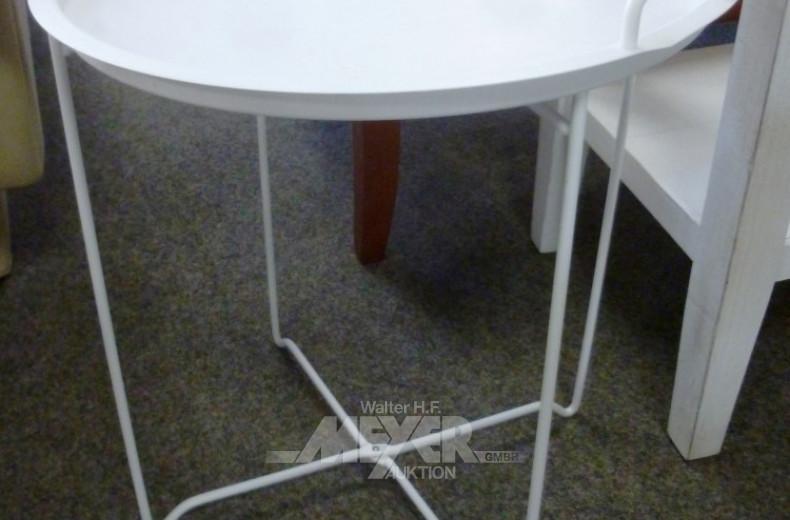 runder Tablett-Tisch, weiß