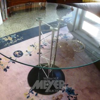 Glastisch, rund mit Edelstahlfuß