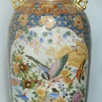 gr. Keramik-Henkelvase, Vogel- und
