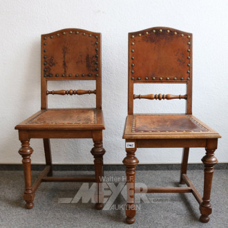 2 Stühle, Eiche, Leder-Sitzfläche