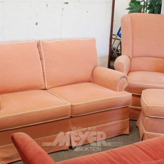 Sitzgarnitur, rosa, bestehend aus: