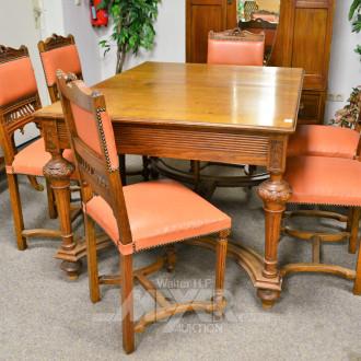 Esstisch, ausziehb. sowie 6 Stühle