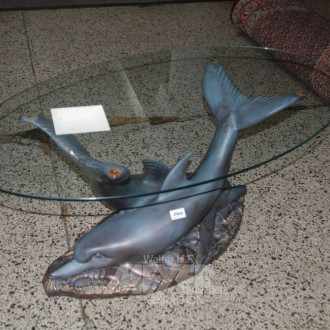 Couchtisch, Kunststoffgestell ''Delfine''