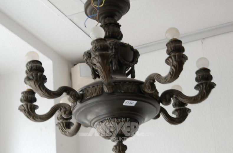 Deckenlampe, um 1900, 8-flammig