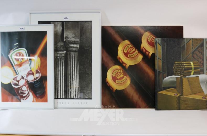 4 versch. Bilder: Jägermeister, Zigarren
