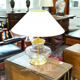 Tischlampe, Glasfuß mit Messing-
