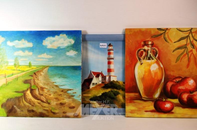 3 div. Bilder: Leuchtturm, Obststilleben,