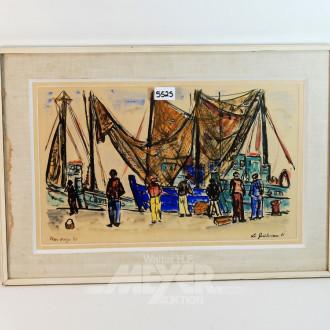 Bild, ''Fischer im Hafen''