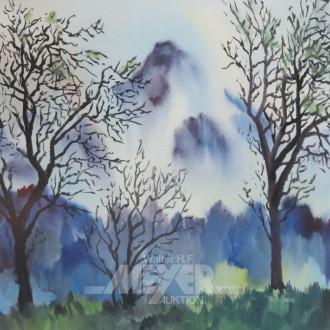 2 Aquarelle, ''Landschaften'', Gegenstücke