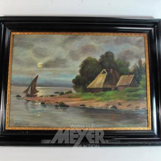 Gemälde ''Fischerkate an der Küste''