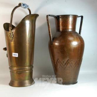 2 Kupfer-Dekorationen: Kanne und