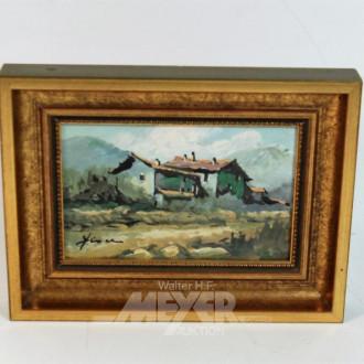 kl. Gemälde ''Gebirgshütte''