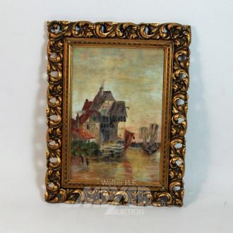 kl. Gemälde ''Fischerhütte mit Staffagen''