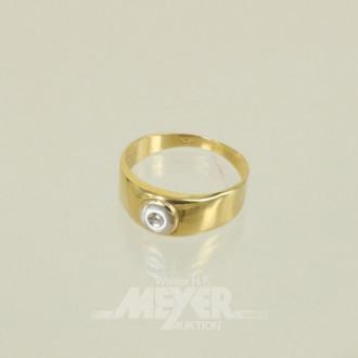 Damenring, 585er GG, mit kl. Diamanten