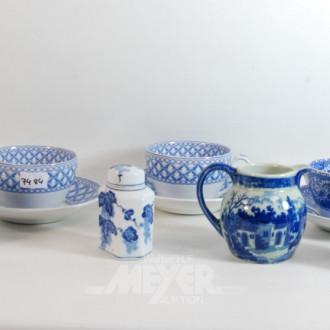 7 Teile Porzellan: Teedosen, Kakaotassen,