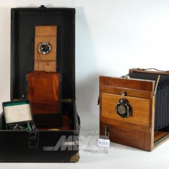alte Plattenkamera mit div. Zubehör