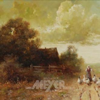 Gemälde ''Bäuerin mit Gänse ''
