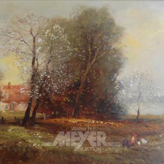 Gemälde, ''Bauernhof mit Hühnern''