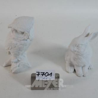2 Porzellanfiguren, KAISER ''Uhu und Hase''