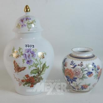 2 Porzellan Vasen, KAISER ''Blumendekor''
