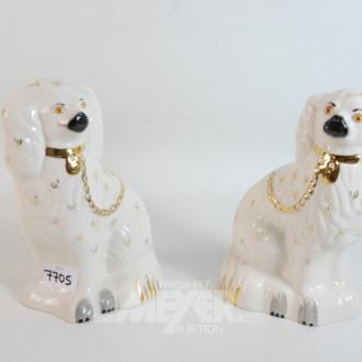 Paar Porzellan Dekohunde