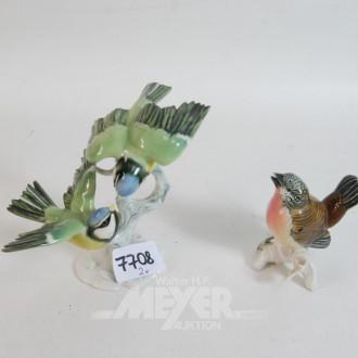2 Porzellanfiguren, Vögel u.a. ENS