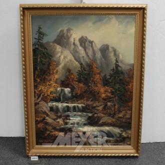 Gemälde ''Sturzbach vor Gebirgsmassiv''
