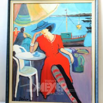 mod. Ölbild ''Dame in Rot''