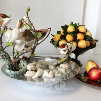 4 Dekorationsschalen mot Obst,