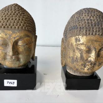 2 Buddhaköpfe, goldfarben