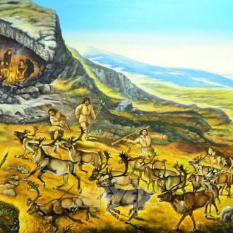 gr. Gemälde ''Rentierjagd vor