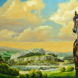 gr. Gemälde/Kopie ''Herrin der Pferde''