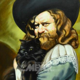 Gemälde/Kopie ''Herrenportrait m. Katze''