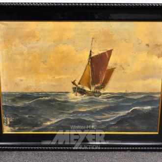 Gemälde, ''Ewer auf hoher See''