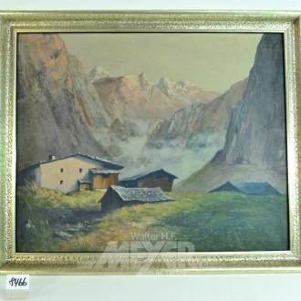 Gemälde ''Almhütte'', unbek. Meister