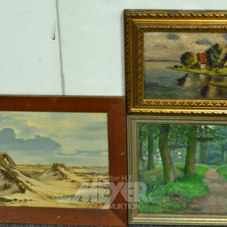 3 versch. Gemälde ''Dünen, Wald, Gehöft''