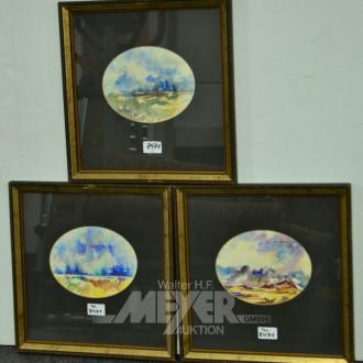 Serie von 6 Aquarellen, ''Landschaften''