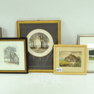 5 div. Bilder ''Bauernhof, Landschaft''