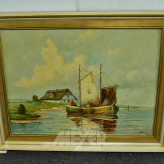 Gemälde ''Fischerboot'' r.u. unleserl.