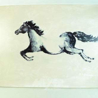 Bild  ''Pferd'' , rückseitig beschrieben,