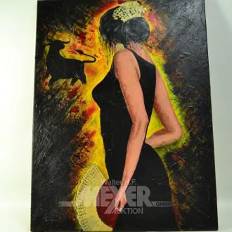 Gemälde, ''Flamencotänzerin'' Öl/Lw.,