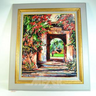 Gemälde ''Haus mit  Brunnenansicht''