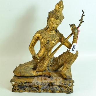 Messingfigur '' Musikerin'' Höhe 37 cm