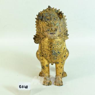 Messingfigur ''sitzender Löwe''
