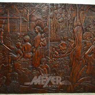 gr. geschnitztes Holz-Wandbild