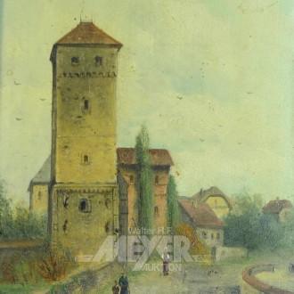 Gemälde ''Dorfansicht mit Kirchturm''